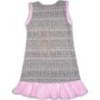 146-os csillogó szövet hatású alkalmi ruha rózsaszín szőrmeszegéllyel - ÚJ