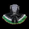 Fekete-zöld fodros aljú lány vagy női jelmezruha