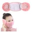 Fekete nyuszis téli szőrmés szájmaszk, maszk, fülvédős - ÚJ