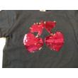 98-as kék cseresznyés átfordítható flitteres póló - Kiki & Koko - ÚJ