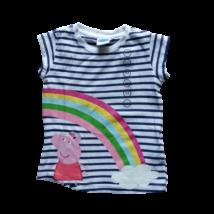98-as fehér csíkos lány póló - Peppa Pig - Peppa Malac - ÚJ