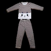 134-es barna csíkos lány pizsama - ÚJ