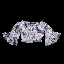 Női XS-es fehér alapon virágos top jellegű feles ujjú blúz - H&M