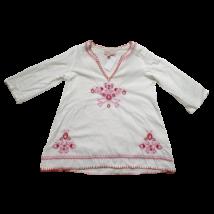 110-116-os fehér hímzett hosszú ujjú blúz - Angels