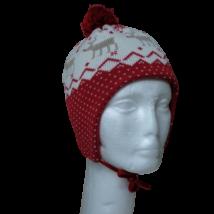 48-50 cm-es fejre piros szarvasos kötött sapka, kesztyűvel - H&M