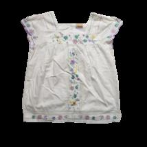 140-es fehér lila virágos hímzett rövid ujjú blúz - Cherokee