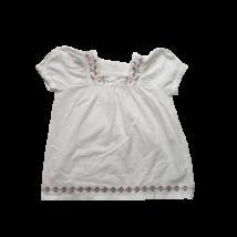 152-158-as fehér hímzett rövid ujjú blúz