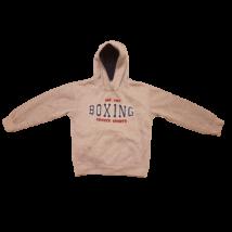 128-134-es szürke feliratos pulóver