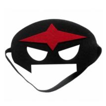 Fekete szuperhős filc maszk piros csillaggal - ÚJ