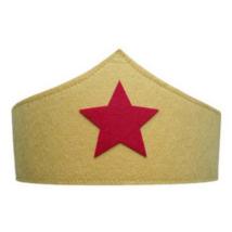 Sárga alapon piros csillagos filc fejdísz, jelmezkiegészítő - ÚJ