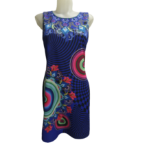 Női M-L-es kék-rózsaszín mintás ujjatlan ruha