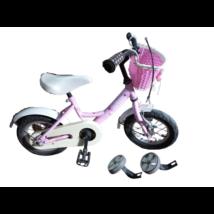 Rózsaszín 12-es bicikli, pótkerékkel, kosárkával