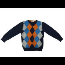 110-116-os kék kárómintás kötött pulóver - H&M