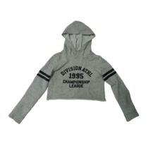 134-140-es szürke feliratos kapucnis top jellegű pulóver - H&M