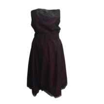 Női 40-es bordó-fekete váll nélküli alkalmi ruha - Reserved