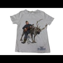 122-128-as fehér fiú póló - Frozen, Jégvarázs - H&M (foltos)