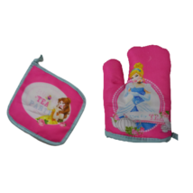 Rózsaszín hercegnő gyerek konyhai kesztyű, textil