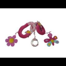 Pink virágos textil bébijáték