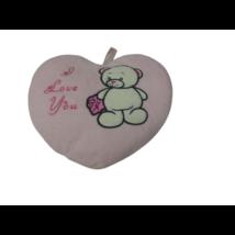 Rózsaszín szivecskés macis párna