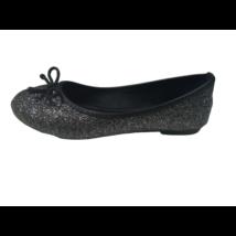 33-as csillogó fekete balerina cipő, alkalmi cipő (sarkainál kicsit kopott)
