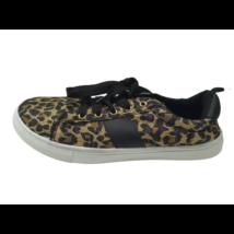 38-as arany-fekete, párducmintás félcipő, sneaker - ÚJ