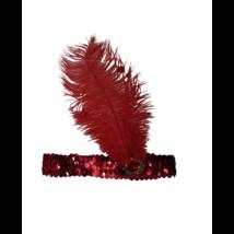 Piros tollas fejpánt, fejdísz - Charleston - ÚJ