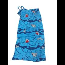 Kék frottír cápás praktikus fürdőlepedő , strandtörölköző