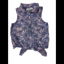 146-os kék-rózsaszín pálmafás ujjatlan blúz - H&M