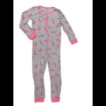 128-as szürke alapon rózsaszín párducos kezeslábas pizsama - In Extenso