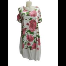Női fehér virágos lenge nyári ruha, kánikularuha - ÚJ