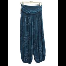 Női türkiz mandalamintás laza (jóga) nadrág, nyári nadrág - ÚJ