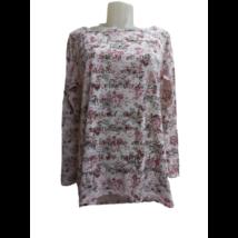 Női M-es rózsaszín virágos pamutfelső
