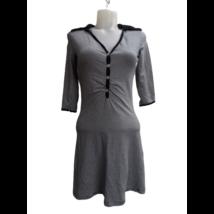 Női M-es fekete-fehér csíkos galléros ruha - Kikiriki