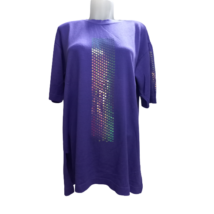 Női 40-es lila díszes bő finomkötött rövid ujjú pulóver