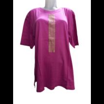 Női 2-3XL-es pink arany díszítésű póló