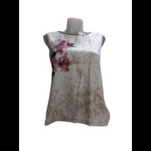 Női L-es drapp virágos flitteres póló - TU
