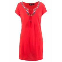Női 48-50-es piros hímzett pamut ruha - Bonprix - ÚJ
