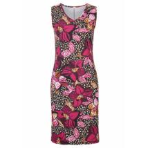 Női 44-46-os pink-fekete virágos pamutruha - Bonprix - ÚJ