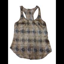 Női XS-es párducmintás selyem ujjatlan póló, felső - Zebra - ÚJ