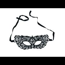 Fekete textil csipke szemmaszk - ÚJ