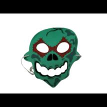 Zöld koponya szivacs álarc, halloween, gyerek méret
