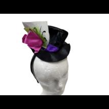 Fekete-pink mini jelmezkalap hajráfon - ÚJ