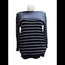 Női M-es kék-szürke csíkos vékonyabb kötött pulóver - C&A