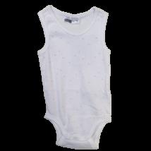 80-as fehér ujjatlan, rózsaszín mintás body - Ergee -  ÚJ