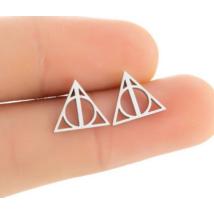A halál ereklyéje fülbevaló, ezüst színű - Deathly Hallows - Harry Potter - ÚJ