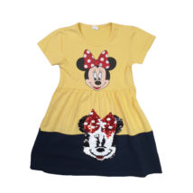 104-es sárga-fekete átfordítható flitteres ruha - Minnie Egér