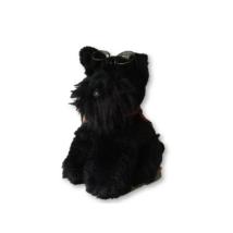 Fekete snauzer, kutya szemüveggel, kb 35 cm
