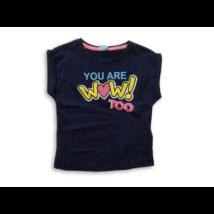 92-es sötétkék feliratos flitteres lány póló - Kiki & Koko - ÚJ