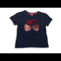 92-es kék cseresznyés átfordítható flitteres póló - Kiki & Koko - ÚJ