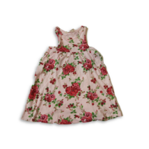 98-104-es rózsaszín virágos ujjatlan pamutruha - H&M